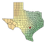 locator map for Guadalupe County